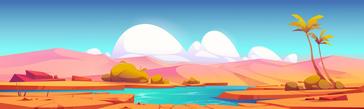 Desert landscape with sand dunes and oasis with lake or pond and palm trees. Vector cartoon illustration of hot tropical desert with river, dry cracked ground and green bushes on shore