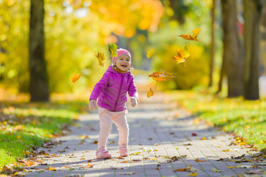 Little girl is happy about flying maple leaves on sidewalk at city park. Child enjoying colorful sunny autumn day. Front view.