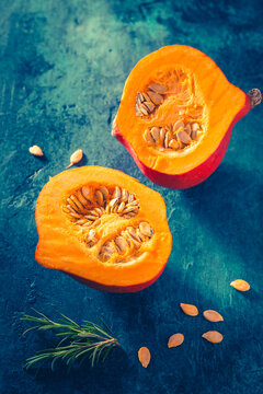Organic pumpkin with seeds ready for cooking