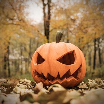 Halloween pumpkin on mapple leaves