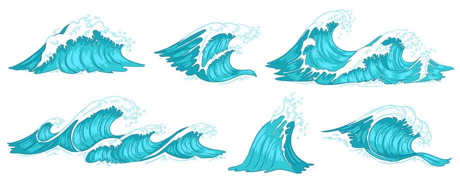 Sea wave. Vintage ocean waves, blue water tide and tidal wave hand drawn vector illustration set