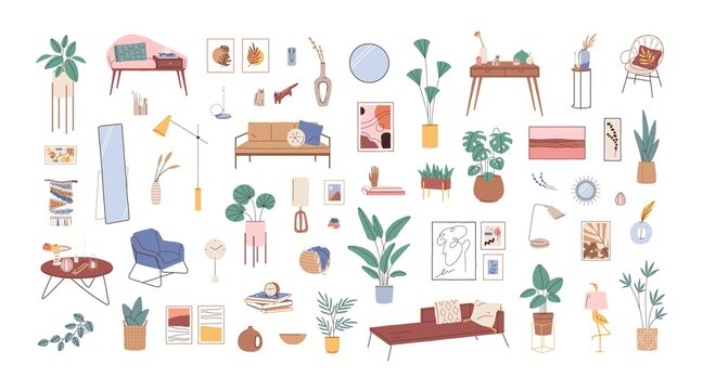 Modern interior decor set. Retro furniture, potted house plants, lamps, mirrors, home pictures, books, clocks, sofas and armchairs. Colored flat vector illustration isolated on white background