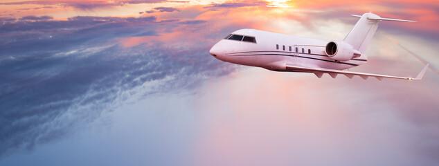 Fototapeta Private jetplane flying above dramatic clouds obraz