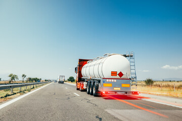 Fototapeta Fuel Lorry truck on a motorway obraz