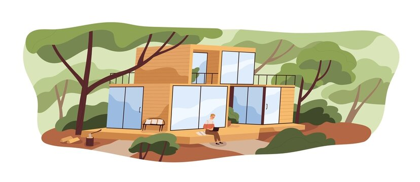 Modern modular house building and person with laptop on wooden patio. Man outside wood and glass home in nature among trees in summer. Colored flat vector illustration isolated on white background