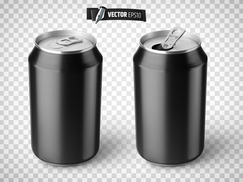 Vector realistic illustration of black soda cans on a transparent background.
