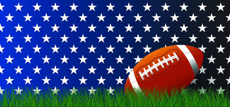 American football on green grass field. Sport team game cup. Rugby ball day. Funny super bowl weekend party. USA, sport finale, school games or on street. Vector template background sign.