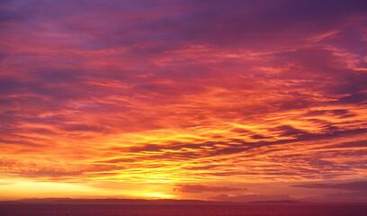 Rare Dramatic Twilight, Fire Sunrise Sky