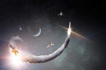 Fototapeta Image of outer space. . Mixed media obraz