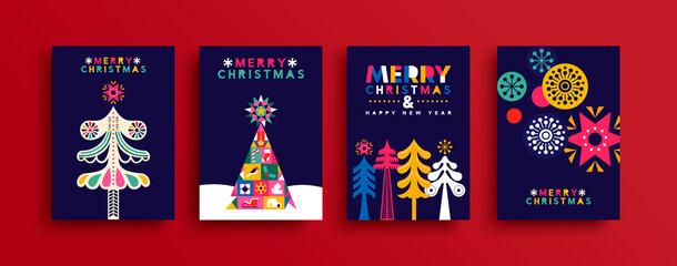 Obraz Christmas New Year neon folk pine tree card set - fototapety do salonu