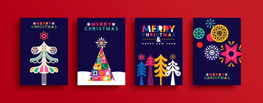 Christmas New Year neon folk pine tree card set