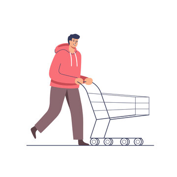Supermarket sales. Man doing purchases for Holidays, pushing shopping cart. Character vector illustration.