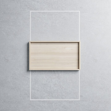 Creative wooden frame with mock up place on concrete wall background. Design and art concept. 3D Rendering.