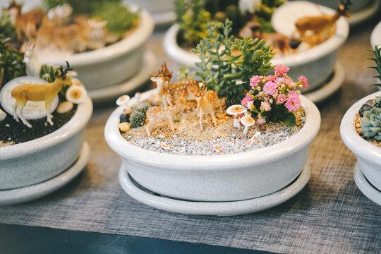 Miniature Garden Bowl, Mini Garden with deers
