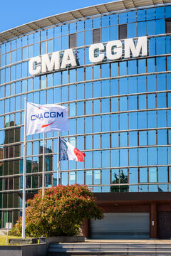 Le Havre, France - June 12, 2021: Offices of the shipping company CMA CGM, a french leading worldwide group in container shipping, stevedoring and logistics.