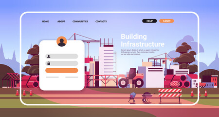 Obraz online building infrastructure website landing page template with construction site - fototapety do salonu