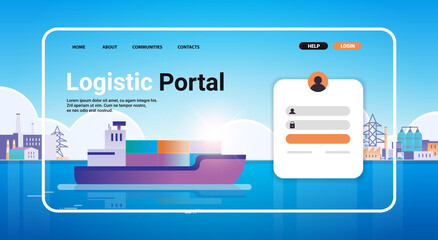 Obraz container ship loading in sea port website landing page template cargo logistics freight transportation concept horizontal copy space vector illustration - fototapety do salonu