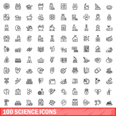 Obraz 100 science icons set. Outline illustration of 100 science icons vector set isolated on white background - fototapety do salonu
