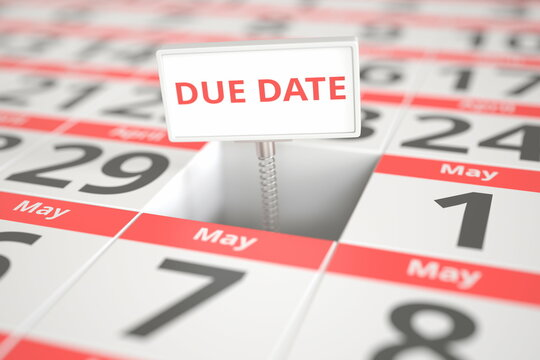 DUE DATE sign on April 30 in a calendar, 3d rendering