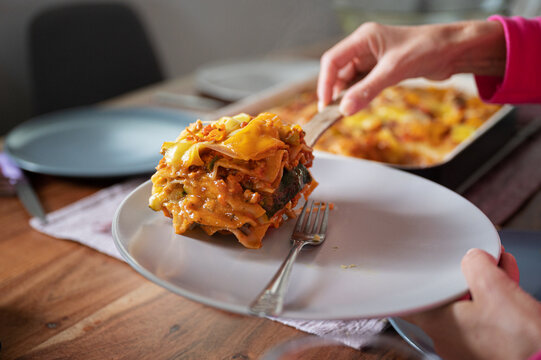 Female hand placing delicious vegan lasagna on a plate