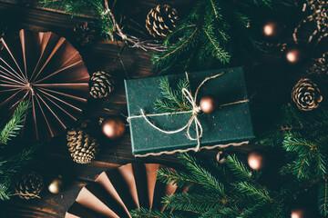 Fototapeta Christmas decoration and Christmas present. obraz