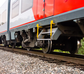rails and wheels of the running train