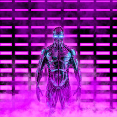 Fototapeta The neon cyborg - 3D illustration of science fiction scene with humanoid robot in front of glowing lights obraz