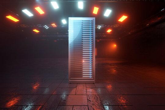 Three dimensional render of dark web server in industrial environment