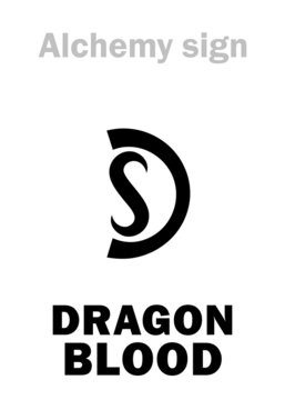 Alchemy Alphabet: DRAGON's BLOOD (Sanguis Draconis), figurative — i.e. Cinnabar (Cinnabaris) / Vermilion (Vermeil), eq.: kinnabari (киноварь), also: Carmine. Cinnabarite, Mercury sulfide=[HgS].