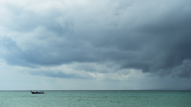 Landscape of cloudy and storm sky on the beach