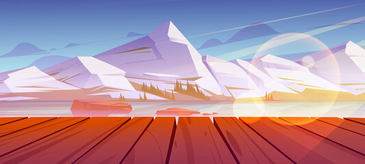 Obraz Mountains pond or lake nature landscape, scenery view from wooden pier. Tranquil background white snowy rock peaks and calm clear water under blue sky natural 2d scene, Cartoon vector illustration - fototapety do salonu