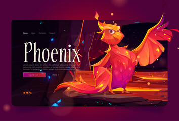 Obraz Phoenix banner with fenix in mountain cave with hot lava. Vector landing page with cartoon illustration of fairytale firebird with orange burning feathers in rock tunnel with molten magma - fototapety do salonu