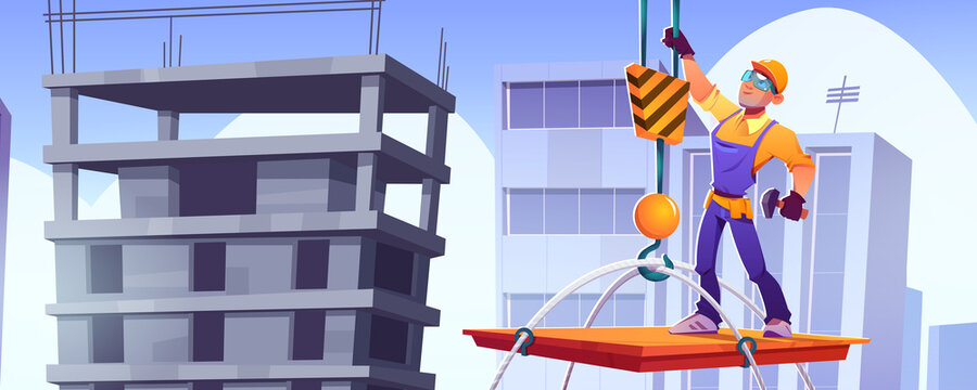 Builder on construction site, worker character in hardhat and overalls stand on platform lifting with crane up on building roof at cityscape baclground. Contractor job, Cartoon vector illustration