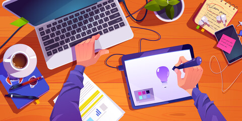 Fototapeta Illustrator or designer working process at workplace top view, male hands painting on digital tablet and laptop, develop creative project, graphic design artist profession, Cartoon vector illustration obraz