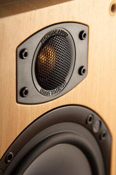 Belgorod , Russia - SPT 22, 2021: Acoustic Monitor Audio B4 sound speakers. Multimedia, audio and sound concept.