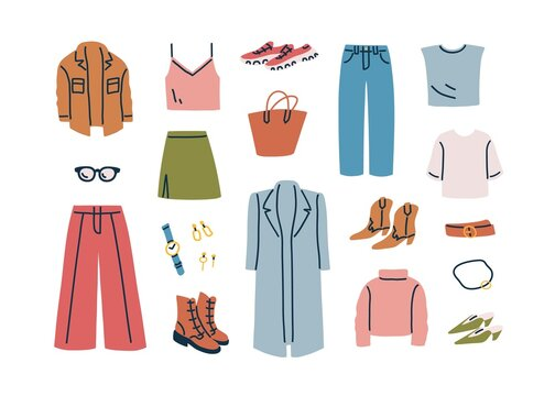 Fall capsule wardrobe collection. Fashion casual women clothes and accessories set. Modern apparel, coat, pants, shirt, boots, shoes and skirt. Flat vector illustration isolated on white background