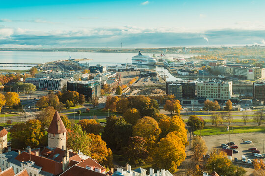 View of the harbor of Tallinn with the old city walls and the Rotermann Quarter, Tallinn, Estonia