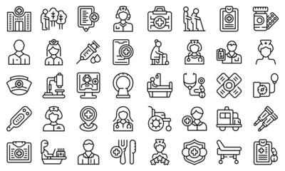 Obraz Nursing assistant icons set outline vector. Old people. Care patient - fototapety do salonu