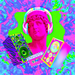 Contemporary art minimal concept collage. Antique statue male and Dj Disco stuff. Back in 90s party style. Zine and vapor wave cuture
