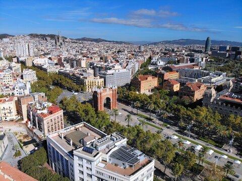 Barcelona aerial cityscape