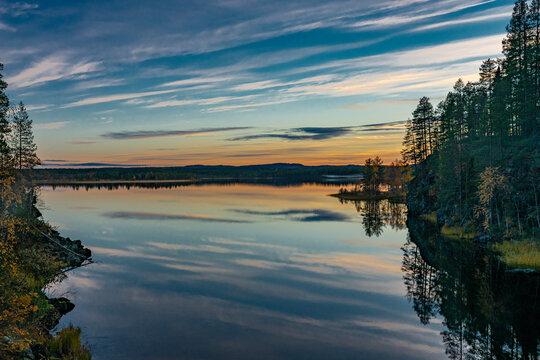 Finish lake at sunset