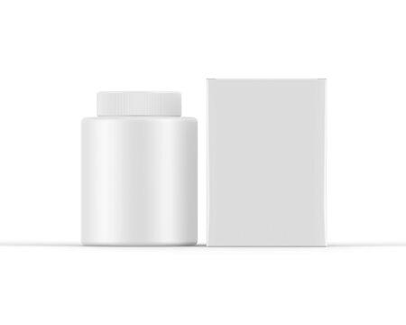 Plastic jar bottle mockup template on isolated white background, ready for design presentation, 3d illustration