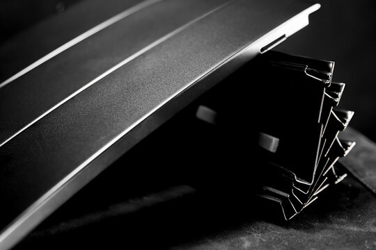 Black steel material in black background