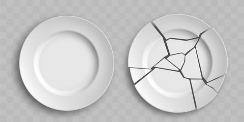 Fototapeta Template of broken white porcelain plate. obraz