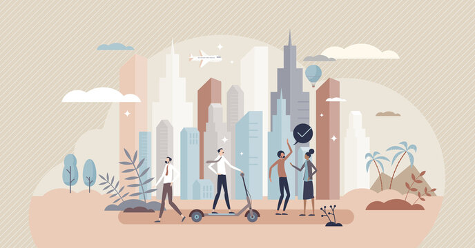 Urbanization as modern metropolis and city development tiny person concept. Crowded or dense environment with skyscrapers and inhabitants vector illustration. Business lifestyle and daily street scene