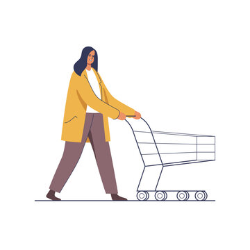 Supermarket shoping. Woman doing purchases for Holidays, pushing shopping cart. Character vector illustration.