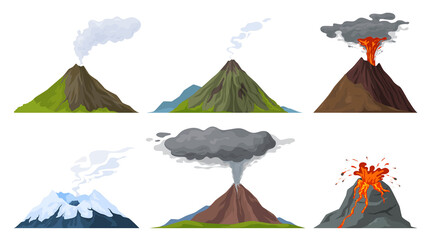 Obraz Erupting volcano set vector flat illustration. Natural volcanic activity with magma, smoke, ashes - fototapety do salonu