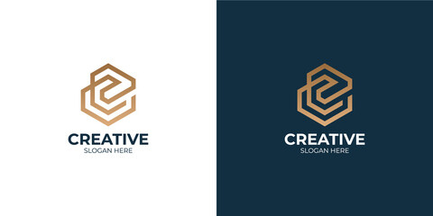 Obraz minimalist letter C logo set - fototapety do salonu
