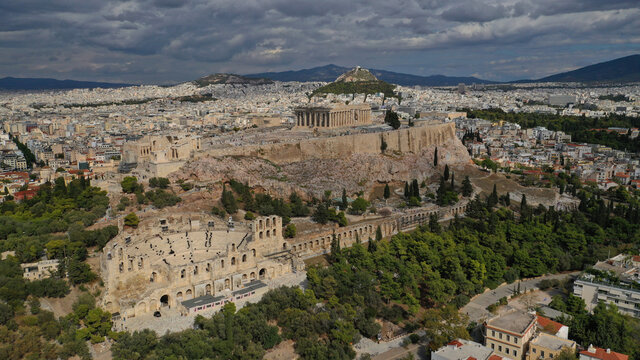 Aerial drone photo of Masterpiece Acropolis hill and the Parthenon, Athens, Attica, Greece