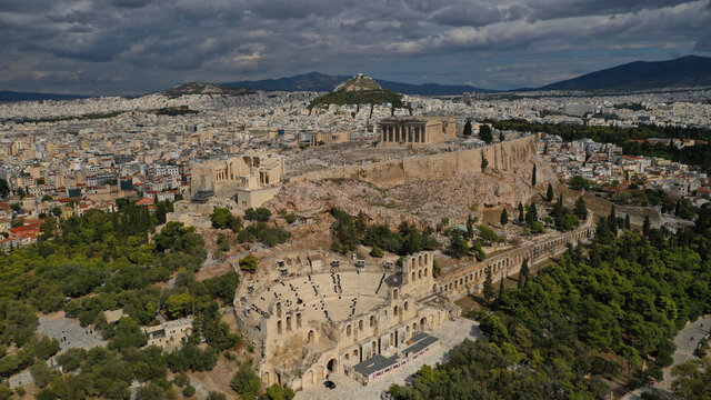 Aerial drone photo of Masterpiece Acropolis hill and the Parthenon on a beautiful cloudy morning, Athens, Attica, Greece